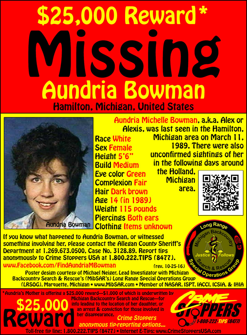 Aundria Bowmans MissingPerson Web site – Missing Person Poster