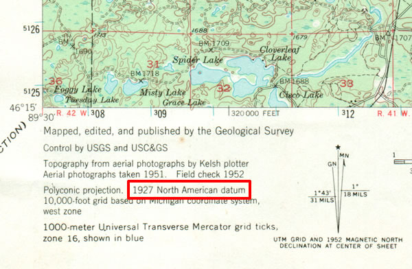 Michigan Backcountry Search And Rescue MiBSAR Map Datum Page - Us geological survey map legend